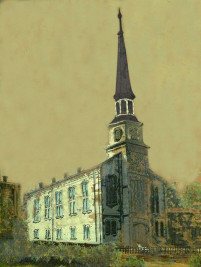 old painting of Court Street Baptist Church